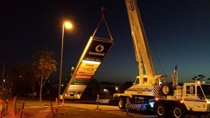 Stocklands pylon install in Hervey Bay